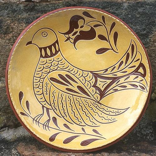 Folk Bird Plate - Pennsylvania Redware - SG851