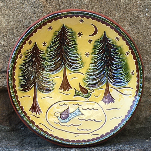 Three Trees with Pair of Ducks Redware Plate - SG889
