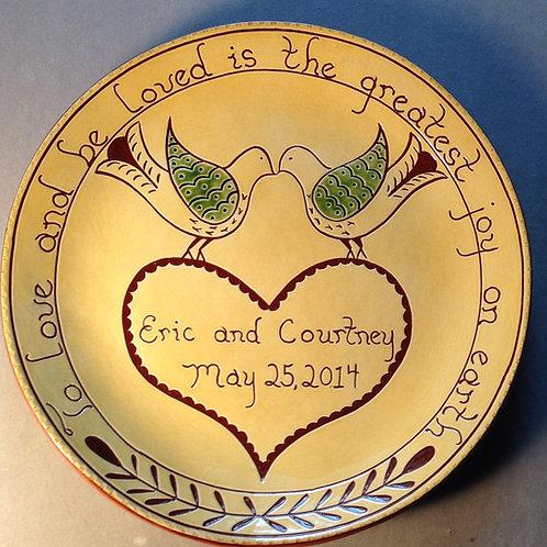 Custom Lovebirds Round Plate