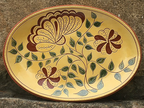 Three Flowers with Green Leaves Platter -SG916