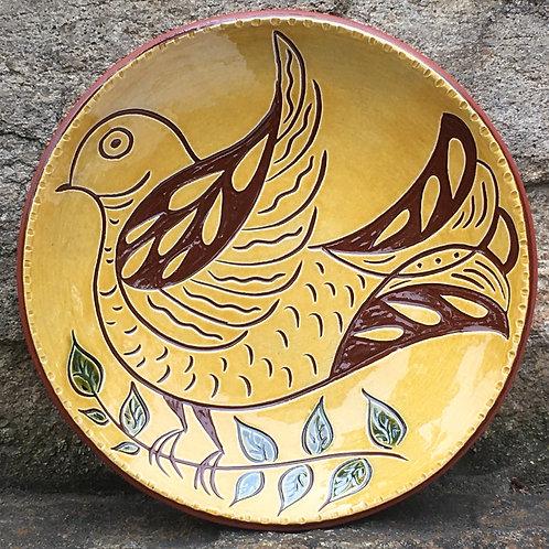 Folk Art Bird - Pennsylvania Redware 7 inch Plate - SG949