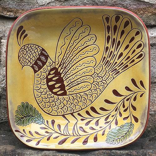 Folk Bird Square Bowl - Pennsylvania German Redware - SG953