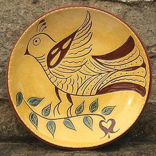 Folk Bird 7 Inch Plate - Pennsylvania German Redware -  SG927