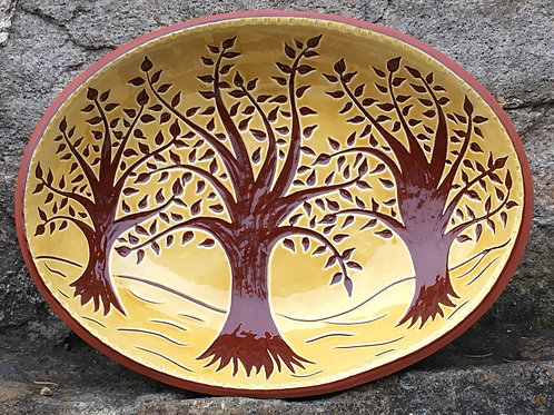 Three Trees Oval Bowl - Pennsylvania German Sgraffito