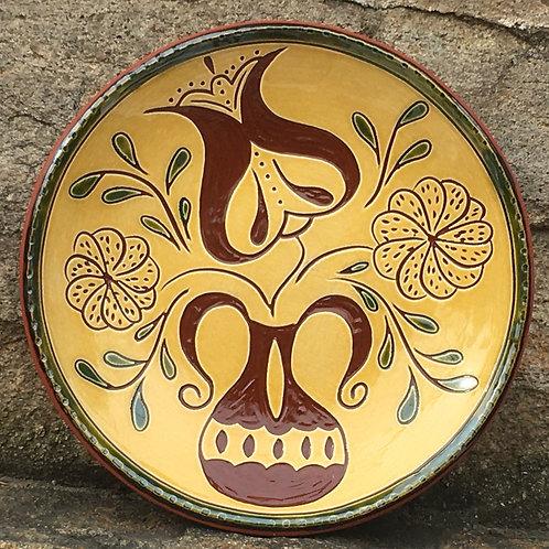 Three Flowers 7 Inch Plate - Pennsylvania German Redware -  SG930