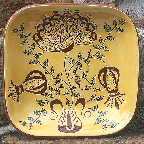 3 Flowers with Green Leaves Square Bowl - Pennsylvania Redware - SG860