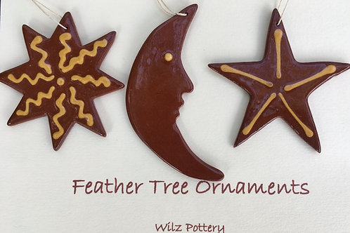 Sun, Moon and Star Feather Tree Ornaments