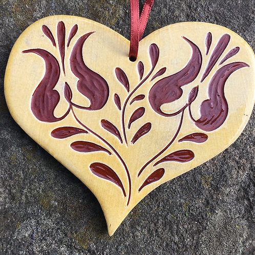 Two Tulips Heart Ornament