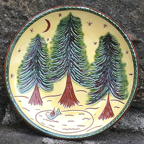 3 Green Trees and a Pond - 7 Inch Plate - Redware -  SG936