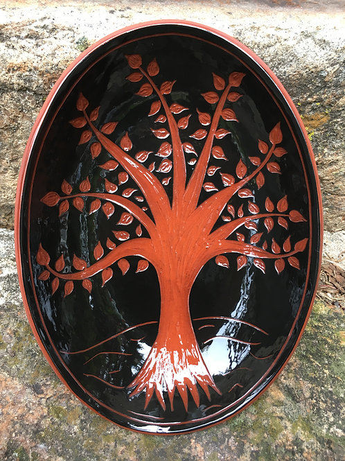 Tree of Life Bowl in Black Sgraffito -  SG776
