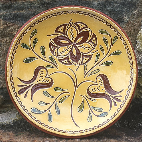 Flowers with Green Leaves Redware Plate - SG842