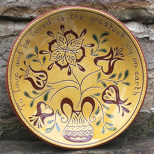 Five Flowers with Green Leaves Redware Bowl - SG954
