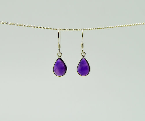 Single Drop Amethyst Silver Earrings