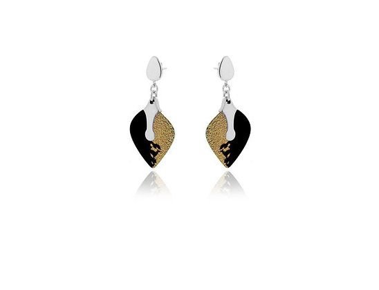 Heart Black Sterling Silver earrings