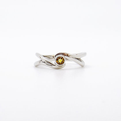 November, Citrine Set Silver Birthstone Twist Ring