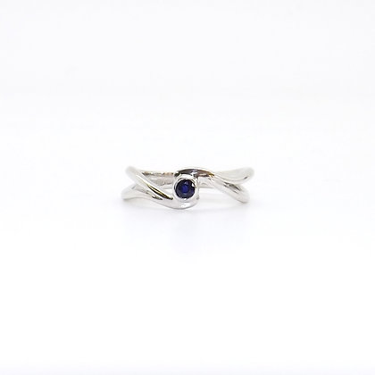 September, Sapphire Set Silver Birthstone Twist Ring