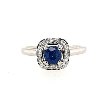 Cushion Cut Sapphire & Diamond Cluster