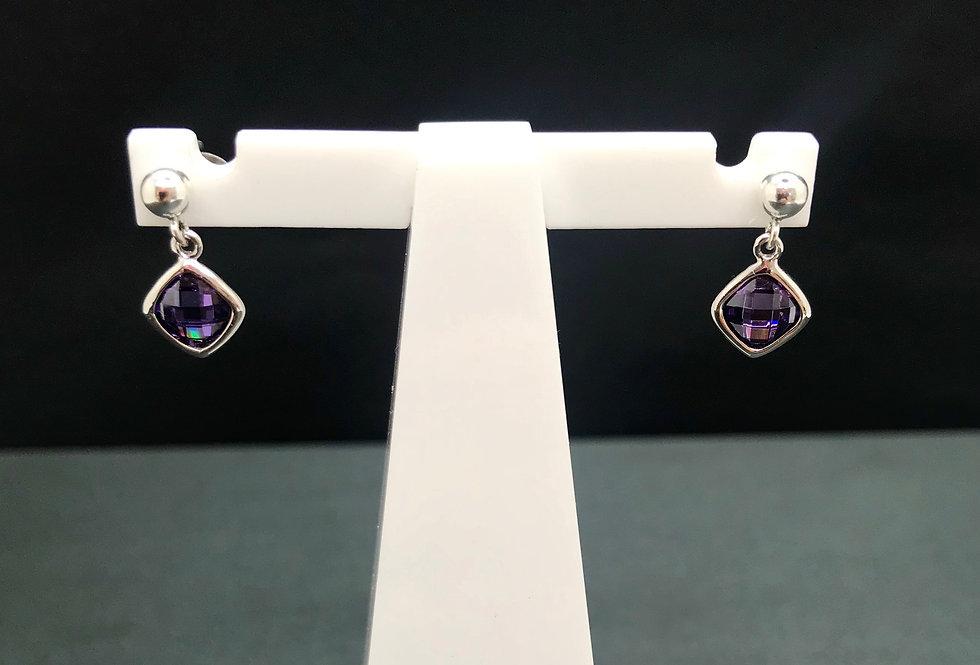 Purple CZ Single Drop Ear Rings