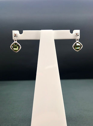 Green CZ Single Drop Earrings