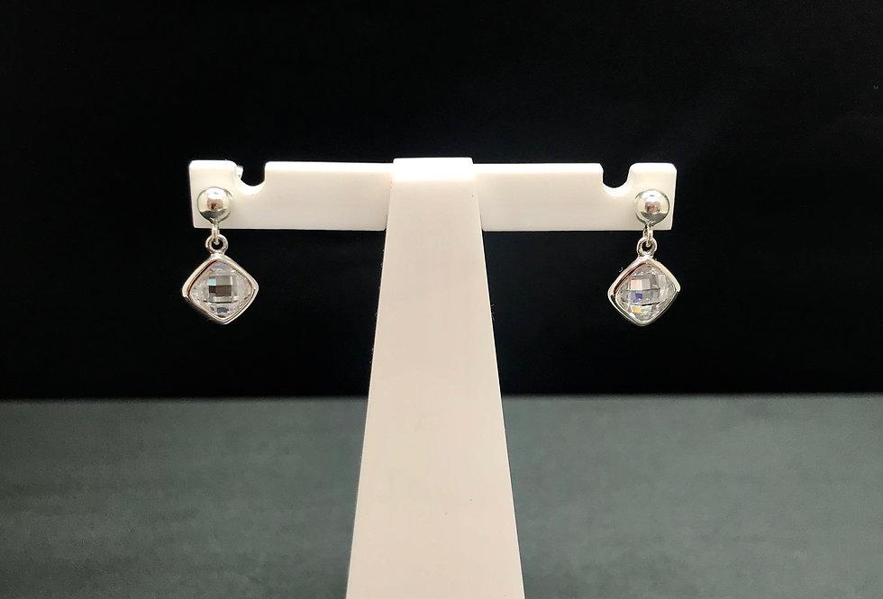 White CZ Single Drop Ear Ring