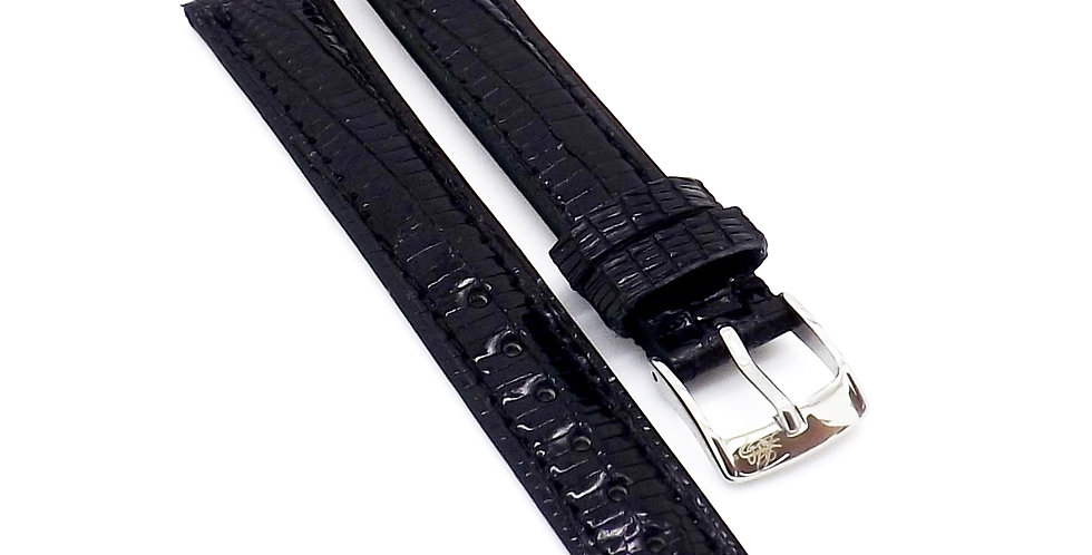 Ladies 15mm Black Genuine Lizard (Teju) watch strap