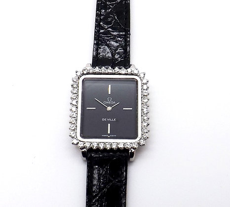 Omega De Ville 18ct white gold  & diamond set bezel