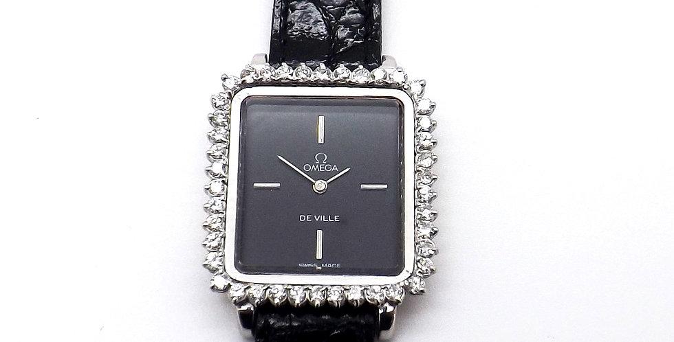 Omega De Ville 18ct white gold  & diamond set bezel