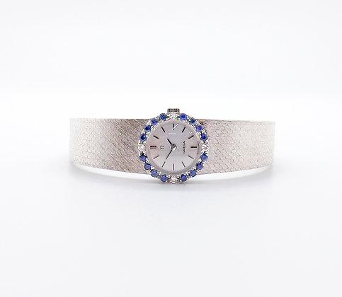 18ct white gold Omega sapphire & diamond watch