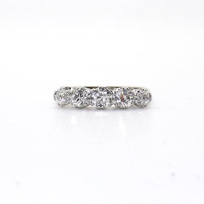 1ct platinum 5 stone diamond ring