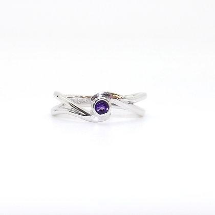February, Amethyst Set Silver Birthstone Twist Ring