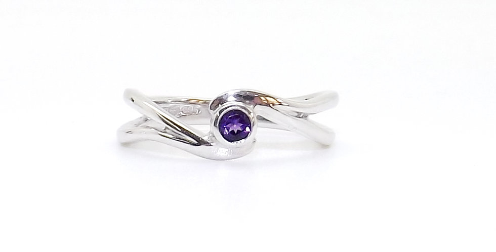 February, Amethyst Set Silver Birthstone Twist Ring
