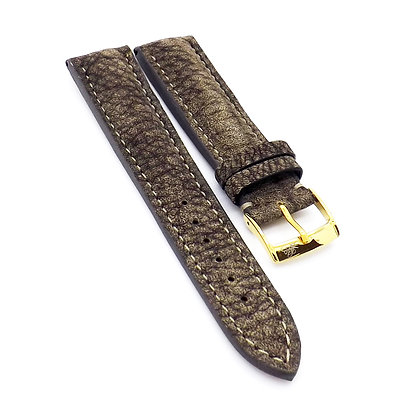 Mens 20mm Buffalo brown watch strap with cream stitching