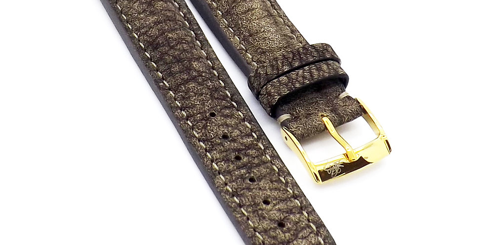 Mens 22mm Buffalo brown watch strap with cream stitching