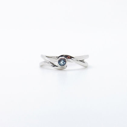 March, Aquamarine Set Silver Birthstone Twist Ring