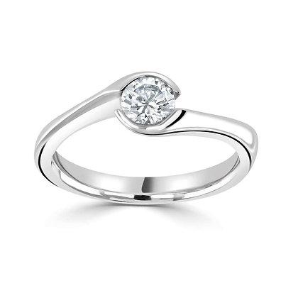 Solitaire Diamond Twist Ring