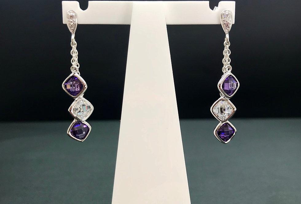 Violet CZ Triple Drop Earrings