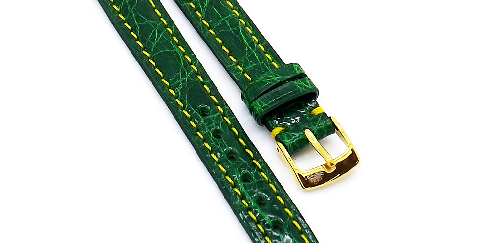 Ladies 12mm Green Genuine Crocodile watch strap with yellow stitching