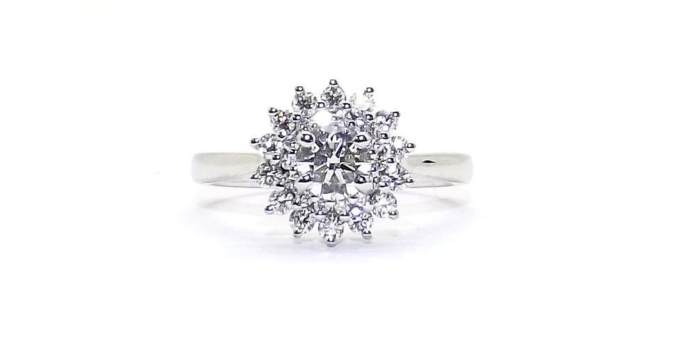 1ct, 18ct white gold 3 row diamond cluster