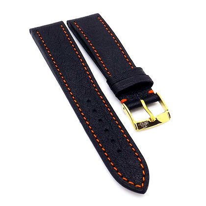 Mens 20mm Buffalo black watch strap with orange stitching