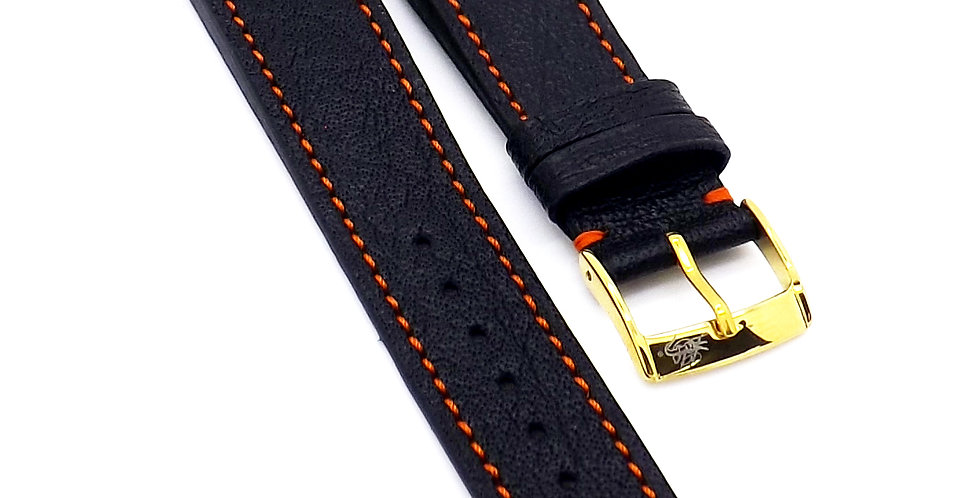 Mens 20mm Buffalo black watch strap with orange stitching