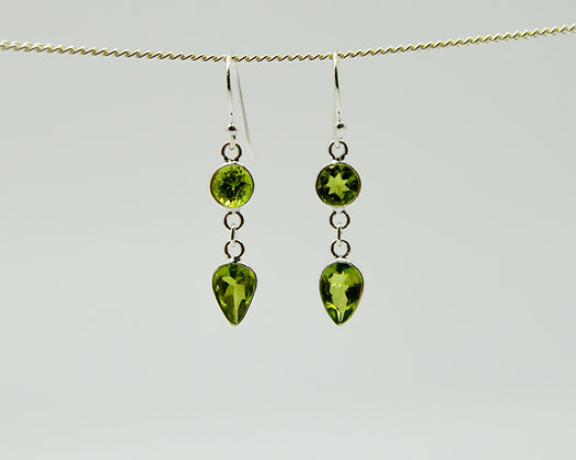 Double Drop Green Peridot Silver Earrings
