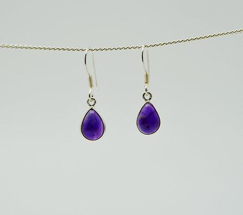 Small Single Drop Amethyst Silver Earrings