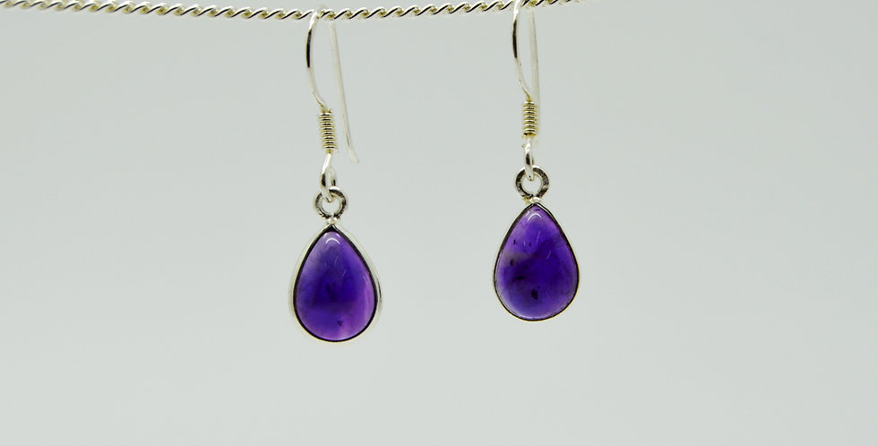 Small Single Drop Amethyst Silver Earrings