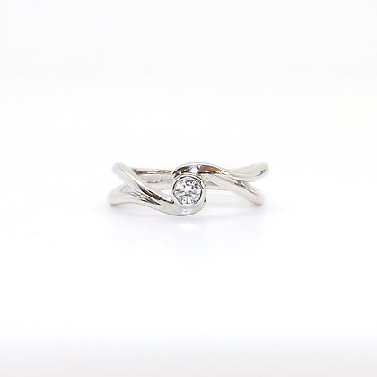 April, Cubic Zirconia Set Silver Birthstone Twist Ring