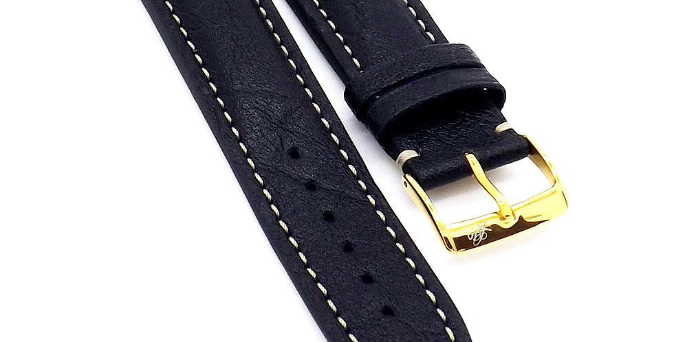 Mens 20mm Buffalo black watch strap with cream stitching