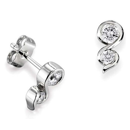 Dual Diamond Stud Earrings