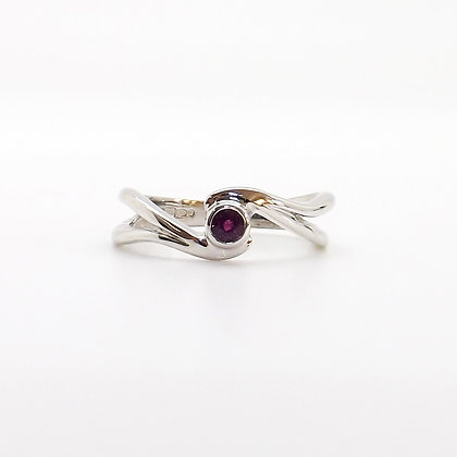 July, Ruby Set Silver Birthstone Twist Ring