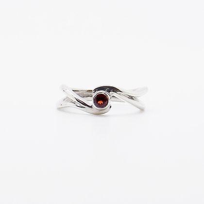 January, Garnet Set Silver Birthstone Ring