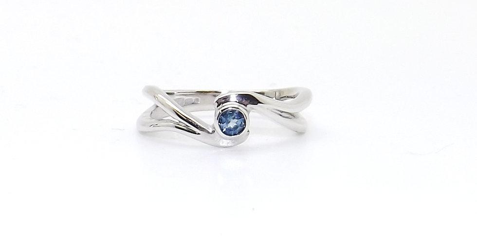 December, Blue Topaz Set Silver Birthstone Twist Ring
