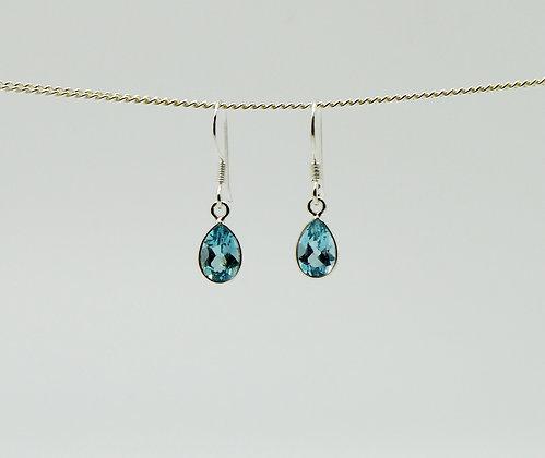 Single Drop Blue Topaz Silver Earrings